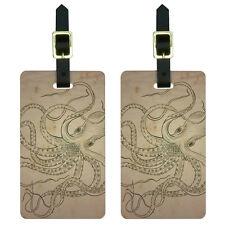 Vintage Ink Drawn Octopus - Sea Monster Tattoo Luggage Suitcase ID Tags Set of 2