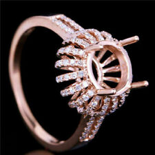 Round Cut 8.0mm Solid 14K Rose Gold Natural Diamond Semi Mount Ring Setting
