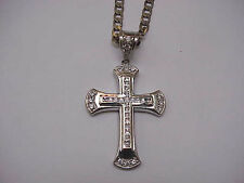 Antique Huge Cross White 37 CZ Stones 925 Sterling Silver Mens Pendant,1900s