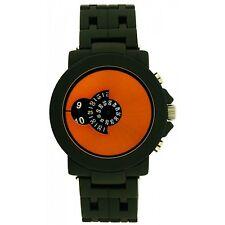 Softech Men's Jump Hour Disk Display Gun Black Yellow Face Watch Analog Quartz