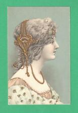 EARLY VINTAGE ART NOUVEAU POSTCARD BEAUTIFUL LADY GOLD METAL HEADPIECE NECKLACE