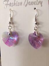 Crystal Heart Earrings - Lilac Glass Beads - Wedding Bridesmaids Jewellery