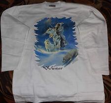 Mädchen Jungen Pullover Kinder-Sweatshirt mit Motiv Winter Wolf Indianer Weiß