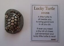 zzee Silver on clay Lucky Turtle Stone Ganz good luck figurine fairy garden
