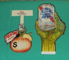 vintage Pbr Pabst Blue Ribbon beer Halloween store display sign lot x2