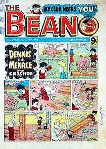 BEANO - 28th NOVEMBER 1981 (26 Nov- 2 Dec) SUPERB 40th BIRTHDAY GIFT !! VG dandy