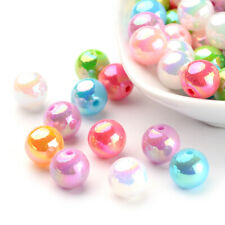 100pcs Colorful Acrylic Beads Round AB Color Glossy Tiny Loose Spacer Beads 10mm