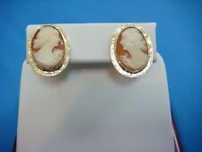 14K YELLOW GOLD ANTIQUE CAMEO EARRINGS WITH SCREW NON-PIERCED BACKS