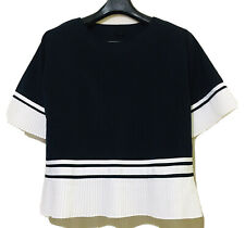 Korean Brand Navy Top With Pleated Contrast Trim