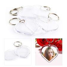 100Pcs Acrylic Plastic Blank Clear Keyrings Heart Shape Photo Key Rings Wedding