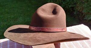 Jackson Hole Hat Company Cowboy 5X Brown Montana Peak w/Leather Tie Headband