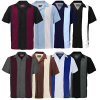 Men's Classic Two Tone Casual Guayabera Bowling Button Up Dress Shirt