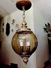 Vintage Mid_Century Smokey Glass Hanging Swag Light_Lamp Candelabra