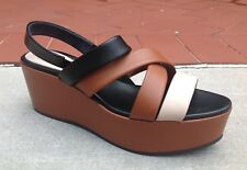 Max Mara Women's Shoes Size 10 (40) Leather Platform Wedges Open Toe NEW