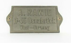 Original Waggonschild A. RAWIE - D-45 Osnabrück - West-Germany