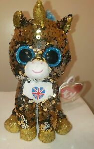"""Ty FLIPPABLES - NOBLE the Unicorn (UK Excl) 6"""" Beanie Boos - MINT with MINT TAGS"""
