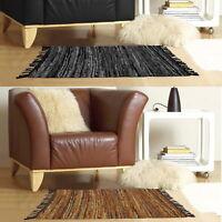 Luxury Leather Modern Multi Tone Stripe Heavyweight Hard Wearing Indoor Rug Mat