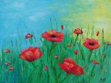 Gemälde öl painting canvas oil Leinwand Mohnblumen Sommer Land Wiese ORIGINAL