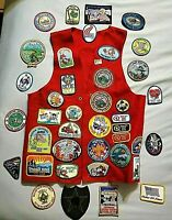 Vtg Boy/Cub Scouts of America Red Felt Vest with 40 Patches, Nice 1999 - 2006