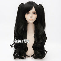 Women Girls 90CM Black Curly Lolita Anime Cosplay Hair Wig With Two Ponytails