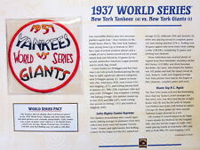 1937 WORLD SERIES PATCH CARD Willabee & Ward NEW YORK YANKEES vs NEW YORK GIANTS