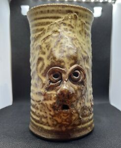 Vintage Ugly Funny Face 3-D Stoneware Art Pottery Mug Coffee Cup Signed Allen?