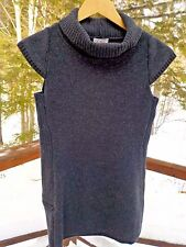 NEW Ibex Womens S Charcoal Gray Merino Wool Cap Sleeve Tunic Turtleneck Sweater