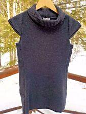 NEW Ibex Womens S Charcoal Gray Merino Wool Cap Sleeve Tunic Turtleneck Sweater
