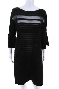 Emanuel Ungaro Womens Panel Sheath Dress Black Size Italian 46 10913836