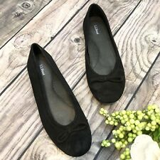 LL Bean Womens Black Suede Flats Casual Career Classic Shoes Sz 7 Orig $149