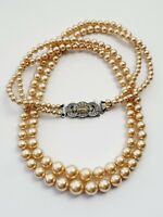 """Lovely Vintage 17"""" Faux Pearl Double Strand Necklace"""