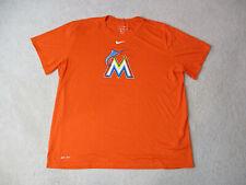 Nike Miami Marlins Shirt Adult 2XL XXL Orange White Dri Fit MLB Baseball Men