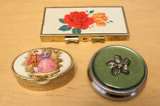 Collection of 3 Vintage Pill Boxes 1 Round and 1 Rectangular and 1 Oval