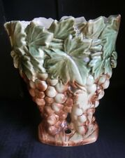 """Vintage McCoy Art Pottery Two Toned 9"""" Decorated Vase-#287 Grapes/Leaves-c. 1951"""