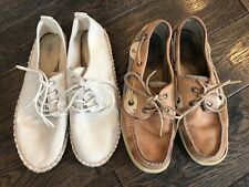 Womens size 8.5 Forever 21 white canvas shoes/ Sperrys size 8 used