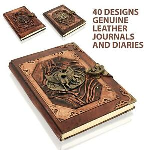 Leather Journal, Hand Made Leather Notebook with Lock, Gift for Men and Women