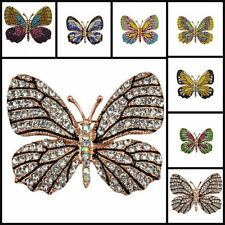 Arabic Retro Hijab Pins Wedding Beautiful Colourful Crystal Butterfly Brooch