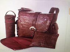 Kalencom Diaper Bag Crocodile Wine Buckle Bag Messenger NEW