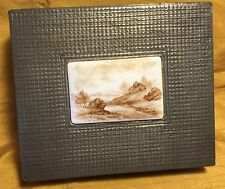Signed Pewter Sheet Plated Wooden Cigarette Box w Painted Porcelain Scene #3