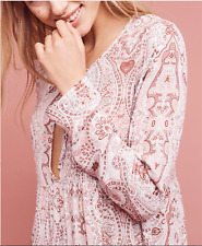 Anthropologie Paisley Chemise Dress Small Pink Rayon by Lilka