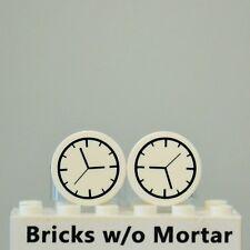 New Genuine LEGO Two White Clock Tiles Round 2 x 2 Minifig