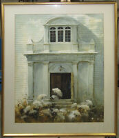 George Shedd Realist WC of New England Building & Flowers Listed Boston Artist