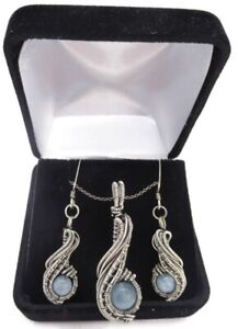 """Aquamarine Necklace & Earrings Set, Wire-Wrapped in Sterling Silver, """"Comet"""""""