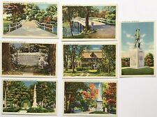 7 VINTAGE POSTCARDS CONCORD, MASS. SCENIC /LINEN /UNPOSTED