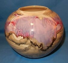 "Metallic Glaze Purple/Pink Drip Tan 7.75"" Pot Vase Bowl Signed Foirson?"