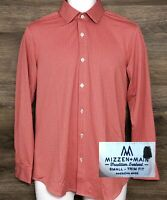 Mizzen+Main Men's Trim Fit Red Check Long Sleeve Button Front Casual Shirt Small