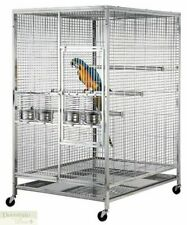 """BIRD CAGE Stainless Steel Indoor Outdoor Parrot Macaw 60""""x48""""x36"""" Perches Bowls"""