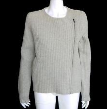 MADEWELL Light GrayViewpoint Asymmetrical Zip Wool Sweater Jacket size Large