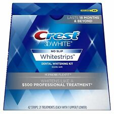 Crest 3D White No Slip Supreme Flexfit 42 Strips 21 Trtmnt Whitestrips Exp 7/20