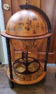 Vtg World Globe Bar Serving Cart Portable Wheeled Liquor Cabinet 38.5x22